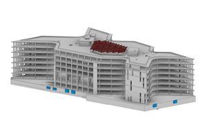 Die Architekten arbeiteten für das Projekt gemeinsam mit Fachplanern an drei aufeinander bezogenen, digitalen Gebäudemodellen für Architektur, Tragwerksplanung und Technische Gebäudeausrüstung