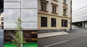 """v. l.: Blick aus der Halle auf den Vorplatz, Grün im Transitorischen, """"Stadtbaldachin"""" mit historischem Bahnhofsgebäude rechts, Untersicht verspiegelt"""