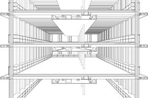 Die Konstruktion ist gelenkig konzipiert, wobei die Ebenen als schubfeste Scheiben und die Fassadenstützen als Pendelstützen verwendet werden