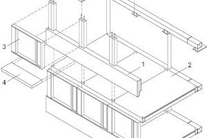 Reihenfolge der Montage: 1. Wandelement aus drei Stützpaaren mit Brüs-tung, 2. Holz-Beton-Rippenverbunddecke, 3. Fenstermodul und 4. Vordach