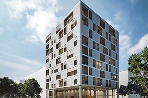 """oben: Aktuelles Bauvorhaben von Kaden + Lager: """"Wohnhochhaus J1"""" im Rahmen der BUGA 2019 in Heilbronn"""
