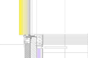 """<div class=""""9.6 Bildunterschrift"""">Fassadenschnitt, M 1:40</div><p>1 Dachaufbau:<br />Dachabdichtung bituminös 2-lagig,<br />Gefälledämmung, 2% Dachneigung 40–200mm, in Verbindung mit teilflächiger Stufendämmung,<br />Grunddämmung 200mm zweilagig, WLG 040,<br />aufgeschweißte, bituminöse Dampfsperre, Notabdichtung,<br />Trapezblech perforiert nach Statik, genietete Ausführung, auf Stahl-Dachbindern HEA 500 nach Statik</p><p>2 Attika über stirnseitig am Rohbau angebrachte Holz-Rahmenbauweise:<br />KVH 80/120mm nach Statik,<br />18mm OSB-Plattenverkleidung, dachseitig</p><p>3 Fassade:<br />24mm Rhombus-Schalung,<br />30/50mm Lattung, Hinterlüftung,<br />1mm Fassadenbahn,<br />2 x 120 x 80mm KVH 8/12cm kreuzweise mit 240mm Wärmedämmung,<br />WLG 035, zweilagig, stoßversetzt</p><p>4 Sonnenschutz:<br />400mm Alu-Lamelle, vertikal asymmetrisch gelagert,<br />Tragprofil Lamellen nach Systemstatik – thermisch entkoppelt</p><p>5 Außenwand gegen Erdreich:<br />18mm Multiplex-Platten,<br />60mm Metall-Tragkonstruktion aus Tragprofil,<br />Konterprofil auf Druckfederelementen verschraubt,<br />300 mm Stahlbeton (WU-Betongüte),<br />10mm Abdichtung,<br />240mm Perimeterdämmung XPS, mit 30mm Stufenfalz umlaufend,<br />WLG 036,<br />20mm Drainage-Noppenbahn</p><p>6 Bodenaufbau:<br />45mm Sportboden<br />4mm Oberbelag Linoleum,<br />2 x 9mm Lastverteilerplatten, Sperrholz,<br />20mm PUR-Elastikschicht,<br />PE-Folie,<br />80mm Wärmedämmung EPS 150 kpa,<br />20mm Trockenschüttung als Nivellierschicht,<br />6mm Schweißbahn, Dampfsperre,<br />350mm Bodenplatte (WU-Betongüte) mit eingel. Lüftungsrohr,<br />120mm Perimeterdämmung unter der ges. Bodenplatte,<br />250mm Drainageschicht (Filterkies)</p>"""