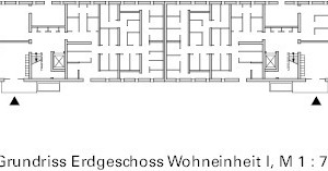 Bestand: Grundriss Block G Erdgeschoss, M 1:750