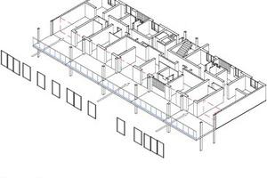 Isometrie 4: Öffnen der Fassaden und Setzen der Verglasung