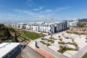 Bahnstadt mit Wohnbebauung, Schwetzinger Terrasse, Kita und SkyLab