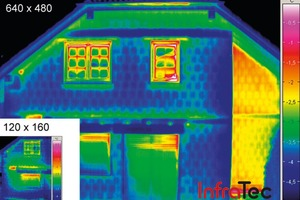 Größen- und Qualitätsvergleich: Thermogramm einer Einsteigerkamera mit 120x160 und einer Profikamera mit 640x480 Pixel Detektorauflösung