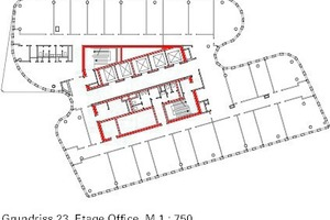 Grundriss 23. Etage Büro, M 1:750