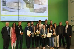 """Die beteiligten StudentInnen an der Arbeit """"Green Campus"""" und die Jury des Hochschulpreises Holzbau 2017"""