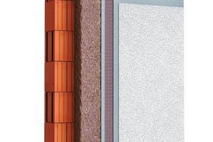 Abb. 1: Systemaufbau für hochdämmendes Ziegelmauerwerk: Hochleistungsziegelleichtputz, Armierungsmörtel mit Gewebeeinlage, mineralischer Oberputz