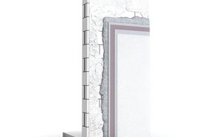 Abb. 3: Systemaufbau für Porenbetonmauerwerk:Vorspritzmörtel, Hochleistungsdämmputz, Armierungsmörtel mit Gewebeeinlage, mineralischer Oberputz