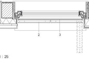 Detail VHF-Fassade mit Lüftungselement und Faltladen, M 1:25