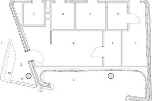 Grundriss Empfang, Trockenbau-Radialkörper, M 1:125