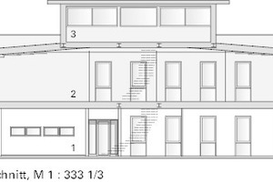 """Schnitt, o.M.<div class=""""legenden"""">1: Erdgeschoss, Bestand</div><div class=""""legenden"""">2: Obergeschoss, Umbau zum Büro</div><div class=""""legenden"""">3: Dachgeschoss, neue Aufstockung</div>"""