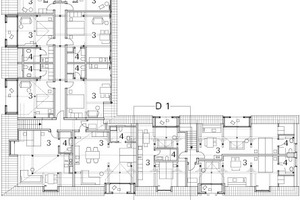 Obergeschoss Haus 1, M 1:500