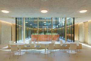 Die Anordnung an die Lichthöfe bringt zusätzliches Tageslicht in die Raumenden und ermöglicht Einblicke in das Schulleben ohne den Cluster verlassen zu müssen