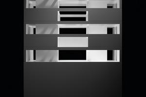 Der geschossweise um 90° verdrehte Grundriss war eine Herausforderung für die Planung der Haustechnik. Da in den Erschließungsschächten nicht genug Platz war, mussten die Stränge in den Gebäudeecken geführt werden