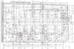 Grundriss mit Gründung Einzel- und Streifenfundamenten, NT-Bodenplatte im Gefälle mit Verdunstungsrinne: materialarm, arbeitsintensiv