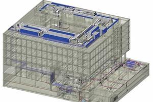 Beispiel BIM-Modell eines Verwaltungsgebäudes, Tragwerksmodell mit integrierter TGA