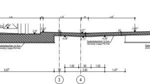 Schnitt mit Gründung Einzel- und Streifenfundamenten, NT-Bodenplatte im Gefälle mit Verdunstungsrinne: materialarm, arbeitsintensiv