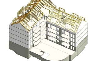 Lückenbebauung mit Dachstuhl im 3D-Modell