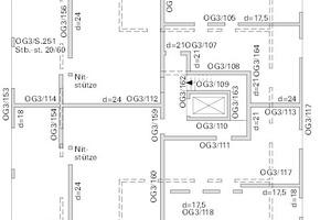 Beispiel Grundriss Wohnungsbau − uneinheitliche lastabtragende Bauteile