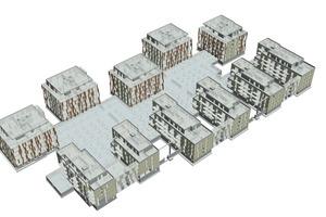 Räumliches Gesamtmodell des Tragwerks einer Quartiersbebauung, Köln