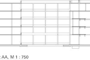Schnitt Tragwerk Verwaltungsgebäude, M 1:750