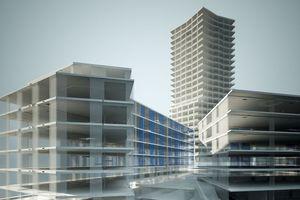 Mithilfe von Allplan Engineering Building realisiert: Visualisierung Limmattower, Zürich/CH – Architekten: huggenbergerfries Architekten AG, Zürich/CH<br />