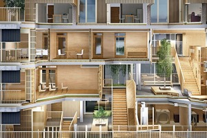 """3D-Perspektive mit Einschnitt in das Gebäude im Bereich des Atriums: Dies verläuft geschossweise versetzt durch das Kinderhaus und dient neben der Erschließung als Aufenthalts- und Bewegungsbereich. Wesentliche Grund-idee des Entwurfs von Finckh Architekten BDA: Scheiben, zwischen die sich die """"Holzklötzchen"""" einschieben, was umlaufend an den sich herausschiebenden Decken deutlich wird. Weitere Entwurfsidee ist es, den Außenraum nach innen zu holen; die Holzlamellenstruktur der Fassade findet sich auch im Innenbereich. Im Obergeschoss sind fünf kleinere Wohneinheiten geplant"""