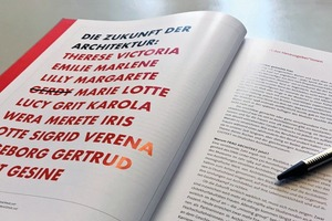 """Im Katalog zur Ausstellung """"FRAU ARCHITEKT"""" (im Ernst Wasmuth Verlag Tübingen, Berlin erschienen) werden u.a. 22 Architektinnen ausführlich und jeweils auf mehreren Doppelseiten portraitiert"""