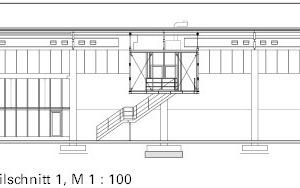 Meisterbüro Detailschnitt 1, M 1:500