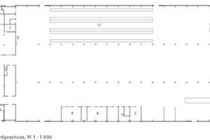 Grundriss Erdgeschoss<br />Halle und Kopfbau, M 1:1000