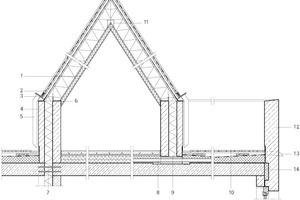 Detailschnitt Attika Dachterrasse, M 1:50