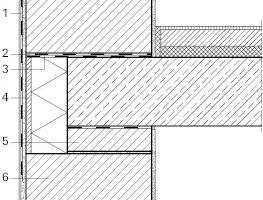<br /> <br /> Durchbindung des Außenmauerziegels durch die Wohnungstrenndecke für eine hohe Schalllängsdämmung: Stoßstellendämm-Maß K<sub>Ff</sub>=9−17dbLegende Wohnungstrenndecke<br />&nbsp;<br />1 Gewebespachtel auf Unterputz<br />2 Ausgleichsschicht auf Mauermörtel<br />3 Bitumen-Dachbahn R 500<br />4 Deckenrandschale, hier Poroton-DRS<br />5 Kleinformat nach Norm<br />6 Planziegel, hier Poroton 365<br />