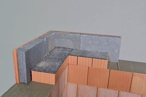 Durchbindung des Außenmauerziegels durch die Wohnungstrenndecke für eine hohe Schalllängsdämmung: Stoßstellendämm-Maß K<sub>Ff</sub>=9−17db