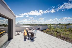 Begrünte Dachterrassen und Pflanzbeete erlauben verschiedenste Aktivitäten und bilden kreativ nutzbare Freiräume
