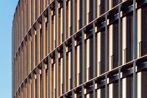 In die Fassade aus lokal gewonnenem Lärchenholz sind Photovoltaikzellen integriert