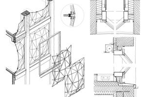 Isometrie von der Konstruktion eines Glaselements für die Fassade