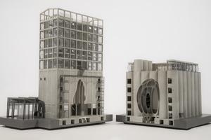 Das Modell zeigt das architektonische Konzept sehr anschaulich: Die Architekten von Heatherwick Studio scannten ein Maiskorn in 3D ein, ließen seine Form überdimensional vergrößern und mitten aus den Betonröhren heraussägen, so dass das markante zentrale Atrium im Museum entstehen konnte