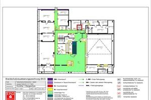 Visualisierung des Brandschutznachweises: 1. Obergeschoss, Tschechisches Kulturzentrum, Berlin