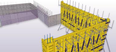 Screenshot: Darstellung von Tekla Structures 2018 anhand einer Betonschalung