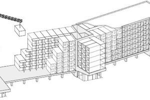 Isometrie, Montage der Holzmodule