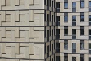 Für die Zulassung mussten besondere Brandschutzmaßnahmen getroffen werden. Gut zu erkennen sind die 5 bis 8 cm aus der Fassade herausgezogenen metallenen Fensterlaibungen oder in der Horizontalen verlaufende Bleche gegen Brandüberschlag. Die Fassade bildet ein vollflächiges Muster vor den Holzmodulen