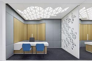 Empfangs- und Beratungsplätze heben sich von der weißen Umgebung durch Holz und Stoffbekleidungen an den Wänden ab. Die Decken und Trennwände der Beraterplätze greifen in einem grafischen Muster die polygonale Gebäudestruktur auf, die sich wie ein Leitfaden durch die Gestaltung aller Räume zieht.<br />