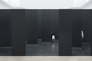 """v. l.: die """"Mauer"""" in der Haupthalle ist auch eine Ausstellungswand, die mit Spiegelwänden verlängert und mit Multimedia in ein Ganzes gebracht wird"""