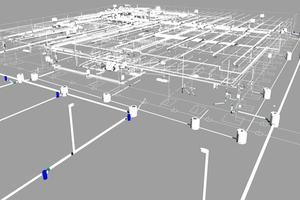 FMZ Leinfelde, die TGA-Leitungen im BIM-Modell