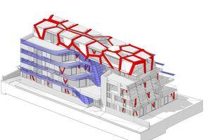 Gesamtansicht des BIM Modells in der Ausführungsplanung: Der gesamte Planungsprozess wurde mittels 3D BIM bewältigt. Alle Bauteile wurden räumlich als Kombination zwischen 3D Geometrie und Informationen im Gebäude-Datenmodell organsiert