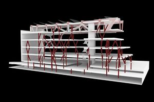 Mit Hilfe von Algorithmen wurde eine Tragstruktur entwickelt, die dem Bauwerk ein irreguläres Gesamtbild verleiht und dennoch ein optimiertes Tragverhalten der Fertigteilstützen mit möglichst kleiner Verformung in horizontaler und vertikaler Richtung aufweist
