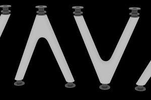 Die vier verschieden V-und A-Stützentypen mit Einbauteil als Stützenkopf bzw. Stützenfuß und Betonummantelung als Brandschutz