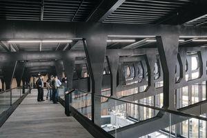 Quer durch die Vierendeelträger, auf einer Höhe von 6,50m, verläuft zudem ein 3m breiter und  55m langer Skywalk aus Stahl, der die Dachkonstruktion hautnah erleben lässt